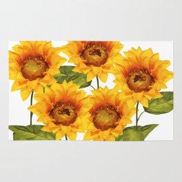Design Five Sunflower on white Background Rug