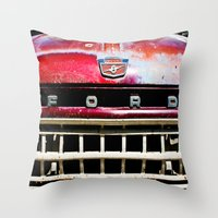 ford Throw Pillows featuring Old Ford by Kim Ramage