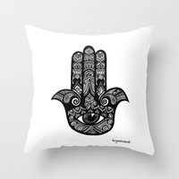 hamsa Throw Pillows featuring Hamsa by fortyonehundred