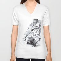 tiger V-neck T-shirts featuring Tiger by Kirsten Neil
