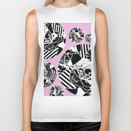 Black And White Bubbles 2 - Multi patterned, multi textured stripes, paint splats and marble on pink Biker Tank