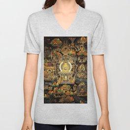 Buddha Life Autumn Gold Thangka Unisex V-Neck