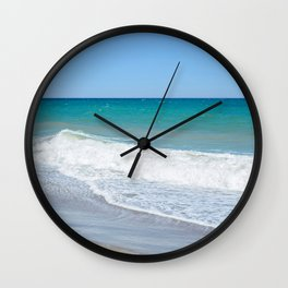 Sandy beach and Mediterranean sea Wall Clock