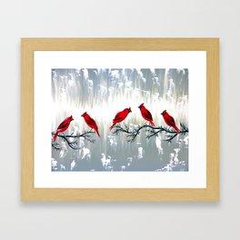 Grey art with REd cardinals Framed Art Print