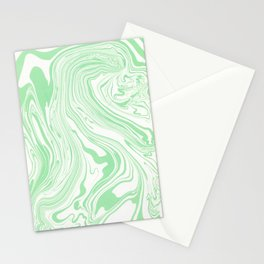 Pastel green & White marble Swirls Stationery Cards