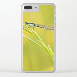 Blue damselfly Clear iPhone Case