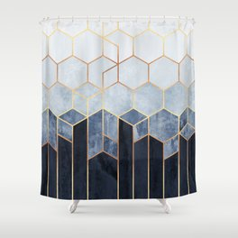 Soft Blue Hexagons Shower Curtain
