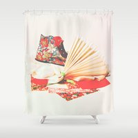 marie antoinette Shower Curtains featuring Marie Antoinette II by Delphine Comte