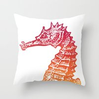 seahorse Throw Pillows featuring Red & Orange Seahorse by Aloke Design