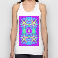 psychedelic art Tank Tops featuring psychedelic Floral Fuchsia Aqua by 2sweet4words Designs