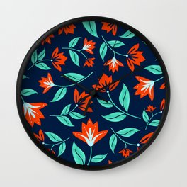 Japanese Floral Print - Red and Navy Blue Wall Clock