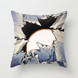 Asteroid cave Throw Pillow