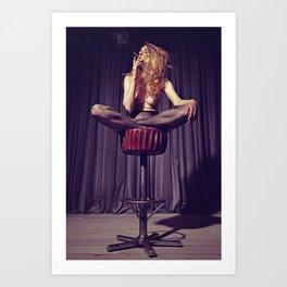 relaxed on the bar stool - Naked women Art Print