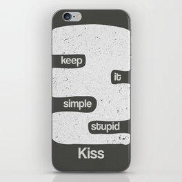 Kiss - Keep it simple stupid - Black and White iPhone Skin