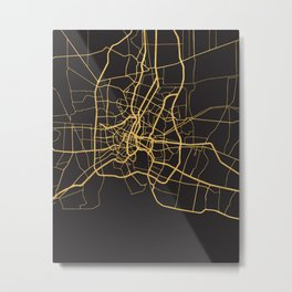BANGKOK THAILAND GOLD ON BLACK CITY MAP Metal Print