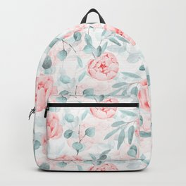 Rose Blush Watercolor Flower And Eucalyptus Backpack