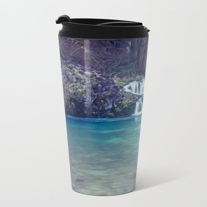 Teal Blue Waterfall Cove Metal Travel Mug