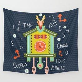 Tic Tock Cuckoo Clock Wall Tapestry