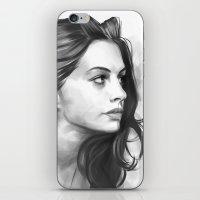 minimalist iPhone & iPod Skins featuring Anne Hathaway minimalist illustration by Thubakabra