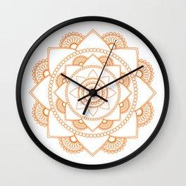 Mandala 01 - Orange on White Wall Clock