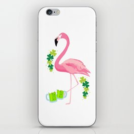 Cool Flamingo With Green Beer Clover St Patricks Day iPhone Skin