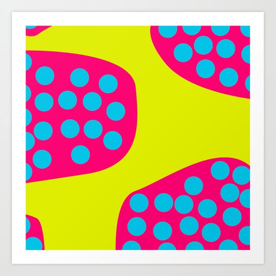 Green Purple Dots Art Print