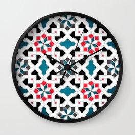 Oriental Pattern - Geometric Design, red / blue / grey Wall Clock