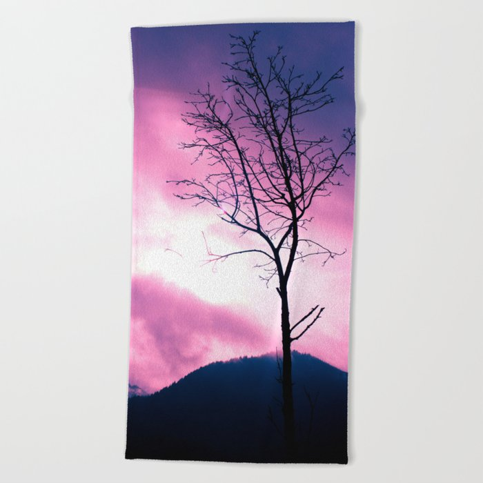 Into the Pink & Purple Sky  - JUSTART © Beach Towel