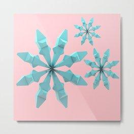 Snowflakes (cyan and pink) Metal Print