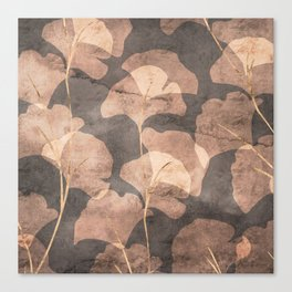 Ginkgo Leaves Rose Gold Brown Canvas Print