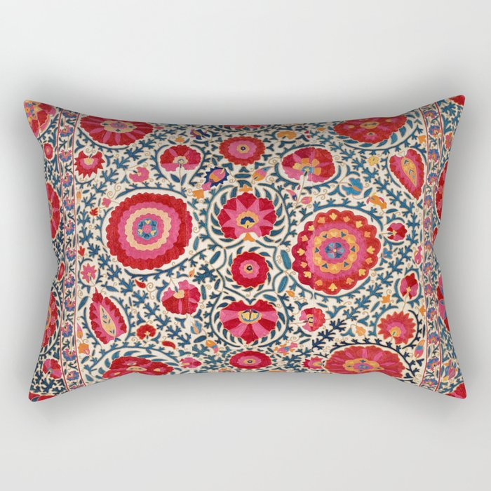 Kermina Suzani Uzbekistan Embroidery Print Rectangular Pillow