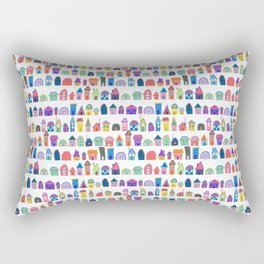 Colorful Neighbors Illustration (White) Rectangular Pillow