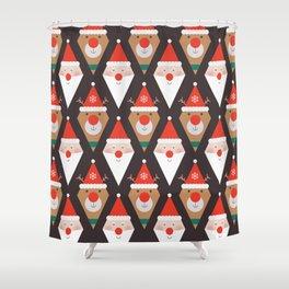 Santa & Rudolph (Patterns Please) Shower Curtain