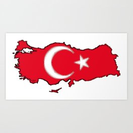 Turkey Map with Turkish Flag Art Print