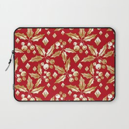Christmas pattern.Gold sprigs on a bright red background. Laptop Sleeve