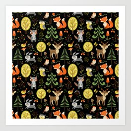 Cute Colorful Wood Animals In Forest Art Print