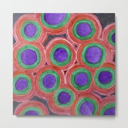 Circles Pattern with Purple Cores Metal Print