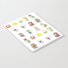 Mario Characters Watercolor Geek Gaming Videogame Notebook