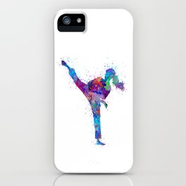 Karate Girl Colorful Martial Arts Gift Watercolor Art iPhone Case