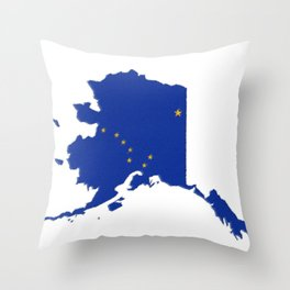 Alaska Map with Alaskan Flag Throw Pillow