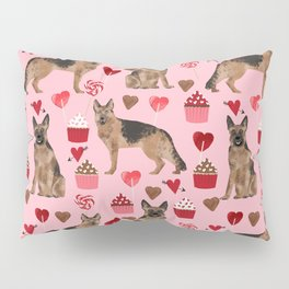 German Shepherd valentines day hearts cupcakes dog breed pet portraits by pet friendly Pillow Sham