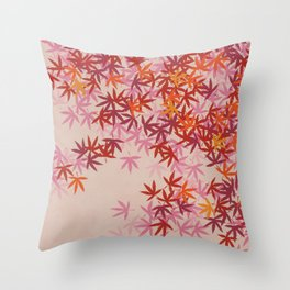 LEAVES IN ORANGE & RED Throw Pillow
