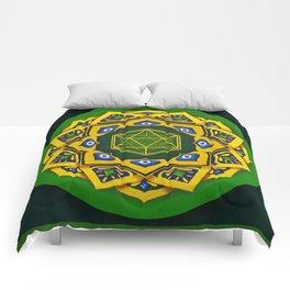"""Sacred geometry"" Green mandala by Ilse Quezada Comforters"