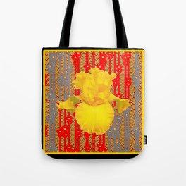 Oriental style Black-red Yellow Iris Pattern Art Tote Bag