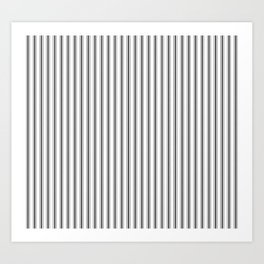 Mattress Ticking Narrow Striped Pattern in Dark Black and White Art Print