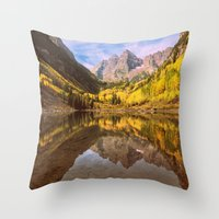 mountains Throw Pillows featuring mountains. Mirror Lake by 2sweet4words Designs