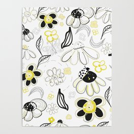 Flower Daisies Abstract Designed Pattern Poster