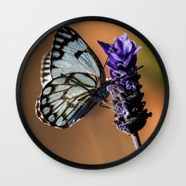 Caper White Butterfly Wall Clock