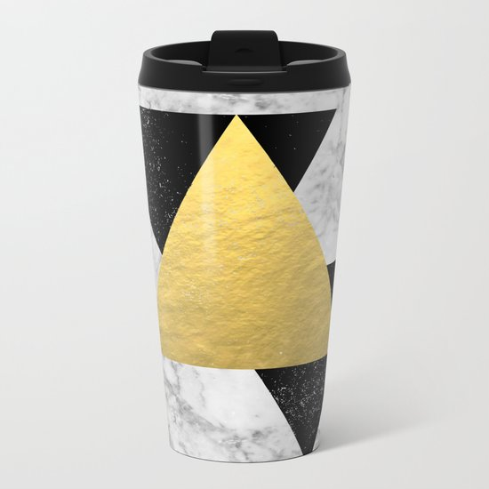 Marble Tri Black & Gold - gold foil, gold, marble, black and white, trendy, luxe, gold phone Metal Travel Mug