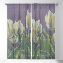Tulips in Purple Oil Painting Sheer Curtain